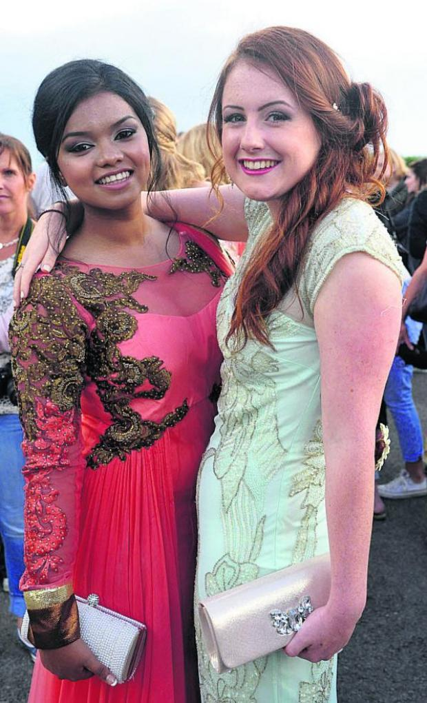 This Is Wiltshire: Siddiqa Uddin and Sara Eckersley at Abbeyfield School's Year 11 prom. Picture by Vicky Scipio