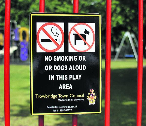 This Is Wiltshire: One of the signs on the children's play area at Trowbridge Park. Picture by Glenn Phillips