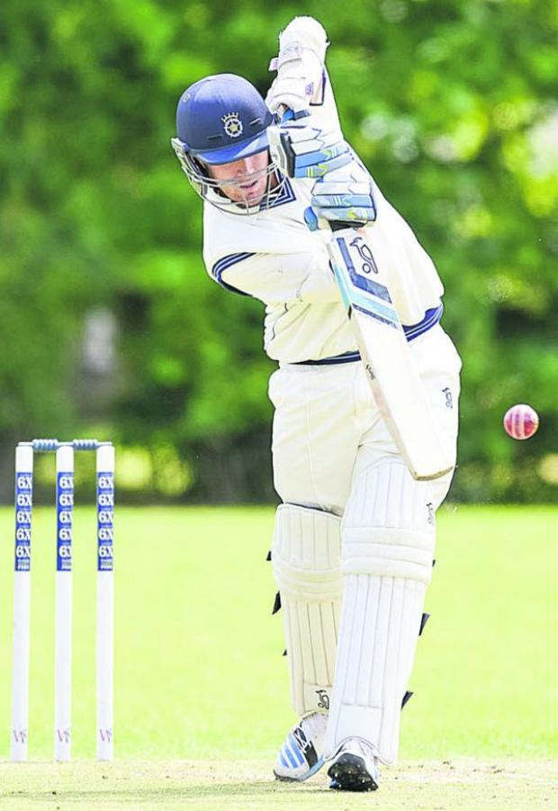 This Is Wiltshire: Hampshire's Liam Dawson in batting action during his appearance for Goatacre against Cheltenham on Saturday Picture by Alex Skennerton