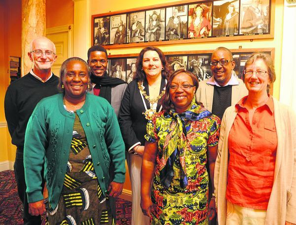 This Is Wiltshire: Cliff Evans, of the Kileva Foundation, left, Mary Ndigha, deputy governor of Taita Taveta, Hon Godwin, Sarah Bridewell, Jemimah Tuja, county education minister, Hon Raymond and Jane Evans of the Kileva Foundation