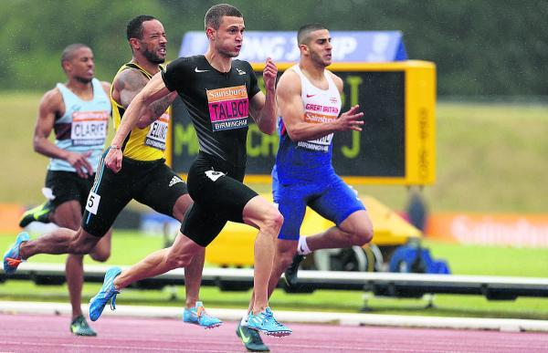 This Is Wiltshire: Danny Talbot speeds past rivals Adam Gemili and James Ellington to win the final of the men's 200m at the Sainsbury's British Championships at Birmingham's Alexander Stadium last Saturday