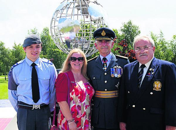 This Is Wiltshire: From left, Sean McRandle, Melksham ATC, Sue Horton, social secretary of the Melksham Branch, Air Marshal Sir Dusty Miller and Trevor Paterson, chairman of the Melksham RAFA