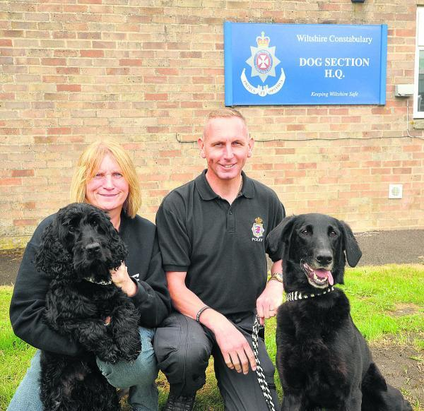 This Is Wiltshire: PC Marie Poole with Griffin and PC Andrew Jerreat with Frank