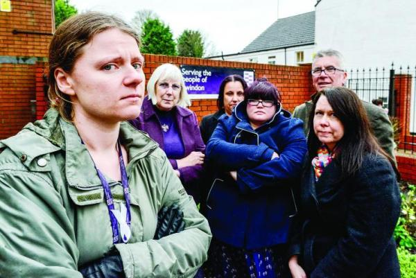 This Is Wiltshire: Flashback to February when probation officers protested about the privatisation. Left to right, Albertine Davies, Marie West, Sharon Drew, Michelle James, Andy O'Pray and Kirsten Fenton