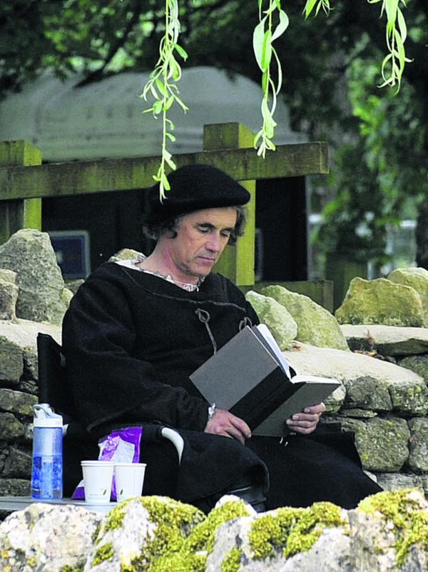 This Is Wiltshire: Mark Rylance as Thomas Cromwell in the BBC production of Wolf Hall, part of which is being filmed in Bradford on Avon. Picture by Glenn Phillips