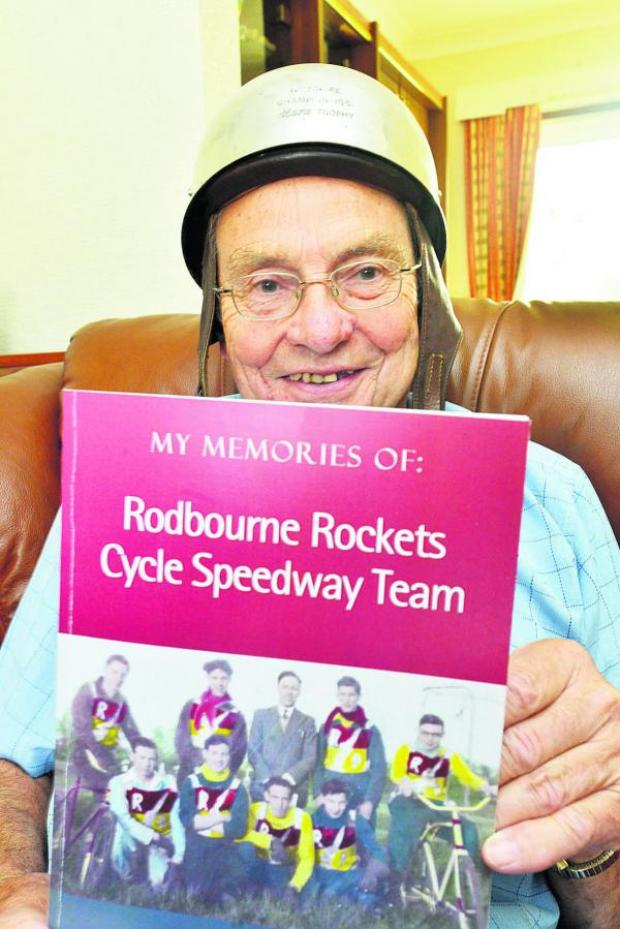 This Is Wiltshire: Barrie Telling with the book put together by his son-in-law David White and, inset, in his racing days with the Rockets