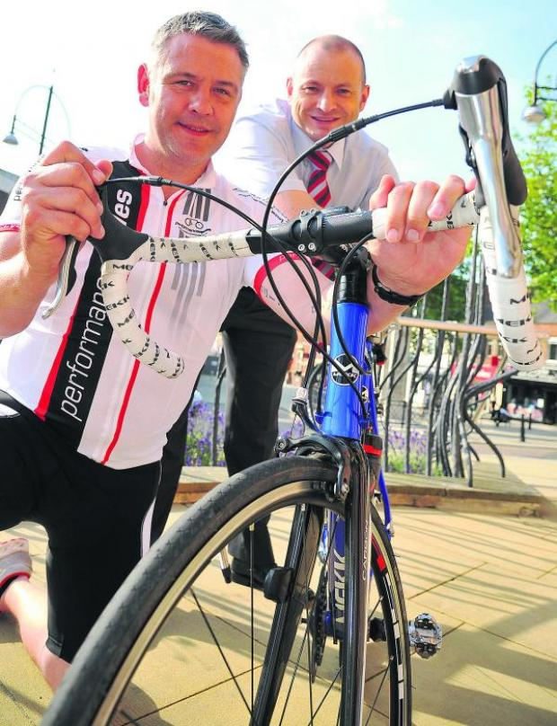 This Is Wiltshire: Greig Evenett, left, and Danny Goggin are doing a bike ride from the UK to Paris to raise funds for a bereavement suite at GWH