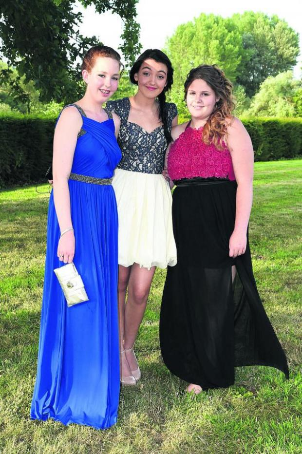 This Is Wiltshire: Grace Langan, Emily Burcker and Chloe Lofthouse arrive in style for their prom