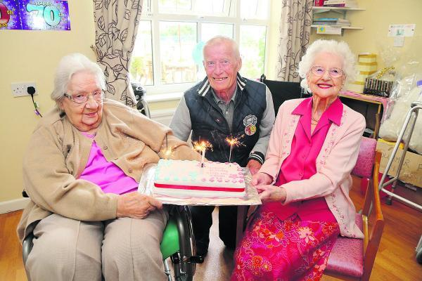 This Is Wiltshire: From left, Sissy Melton, Michael Coomer and Freda Comer, who celebrated their 90th, 70th and 103rd birthdays respectively