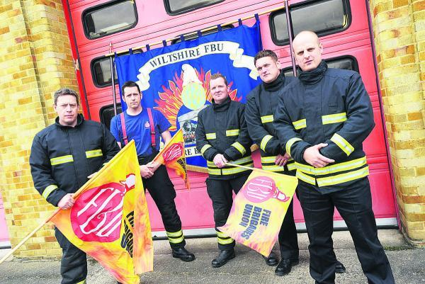 This Is Wiltshire: Firefighters at Drove fire station during a strike earlier this year. They will join council workers on strike today