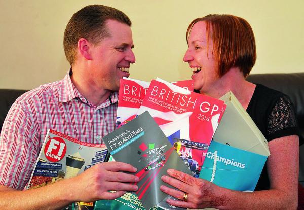 This Is Wiltshire: Couple Richard and Sarah Harber celebrate after winning two tickets to the Abu Dhabi Grand Prix
