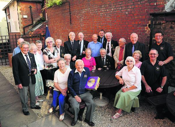 This Is Wiltshire: Pat Connor and members of the White Ensign Association celebrate his long service and forthcoming 90th birthday