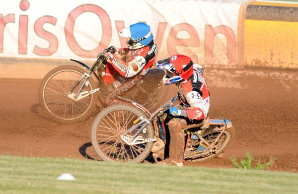 This Is Wiltshire: Simon Gustafsson and Nick Morris in action against Poole Pirates