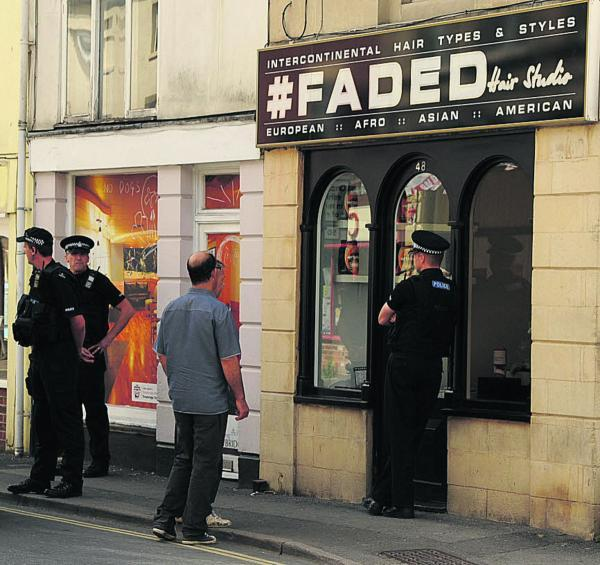 This Is Wiltshire: Police go to Trowbridge hairdressers with drugs warrant. Picture by Trevor Porter
