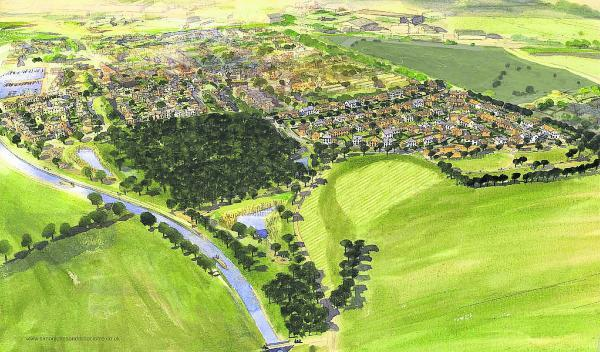 This Is Wiltshire: An artist's impression of the 230-home Lay Wood development at Devizes