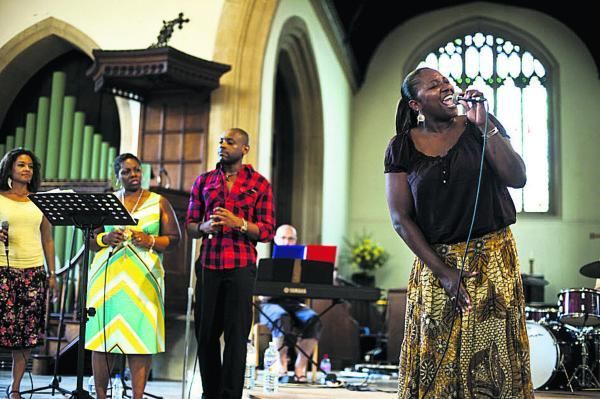 This Is Wiltshire: The Gospel Group in St Mary's Church, Marlborough, at a previous festival