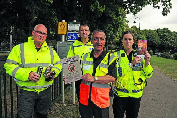 This Is Wiltshire: Bill Austin, head of Trowbridge Town Council's Direct Services, Inspector Chris Chammings, Sharl Adabashi, chair of Friends of Trowbridge Park, and PC Ali Davies. Picture by Trevor Porter