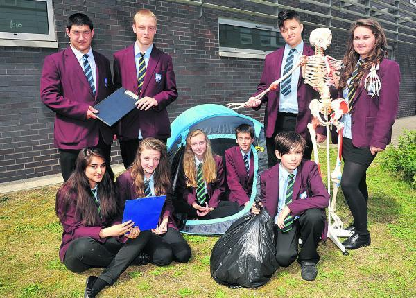 This Is Wiltshire: Thomas, George, Yohan, Gypsy, Jaspreet, Annabel, Emma, Lewis and Kai, from Swindon Academy, took a week off their studies to do community work around Swindon