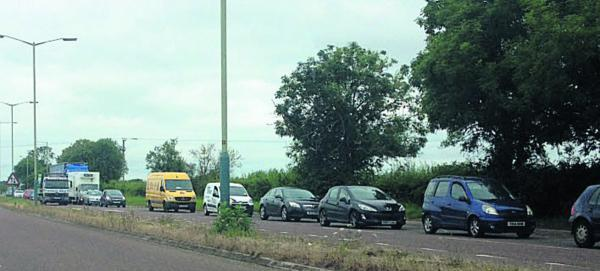 This Is Wiltshire: Traffic queues towards Devizes on the A361 this morning