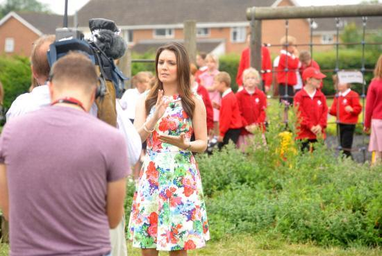 This Is Wiltshire: GMTV presenter Laura Tobin is filmed live at Walwayne Court School, Trowbridge. Picture by Vicky Scipio