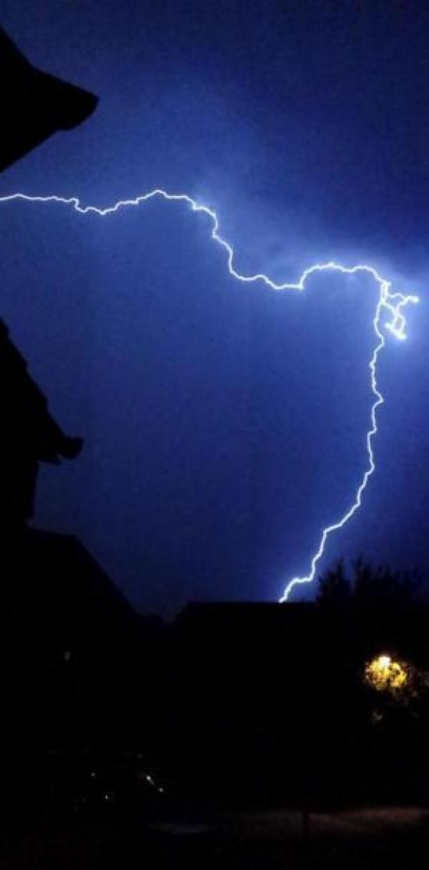 This Is Wiltshire: A dramatic picture of lightning over west Wiltshire last night