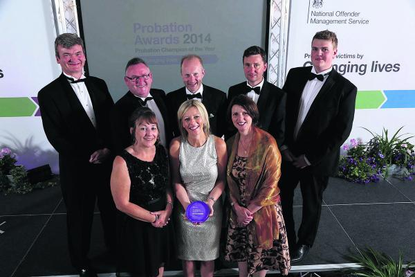 This Is Wiltshire: The Five Wards team at the awards ceremony. Front row, from left, Alison Butler, Angela Kennedy and Sophia Best. Back row, Russell Frith, Mark Walker, Steve Winter, David Henretty and Jordan Thorne