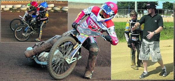 This Is Wiltshire: Nick Morris in action for Swindon, main picture; top left, taking on Darcy Ward as a junior. Right, getting guidance from Jason Crump