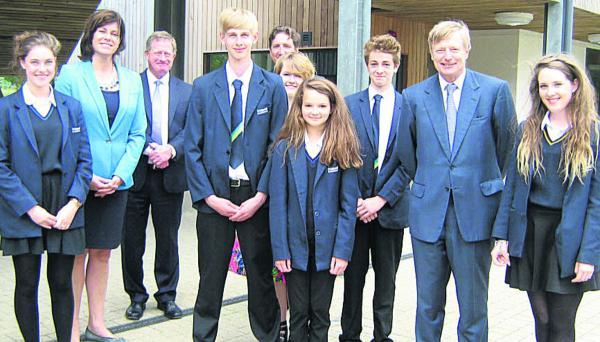 This Is Wiltshire: Devizes MP Claire Perry, Dr Patrick Hazlewood, principal of St John's Marlborough with Lord Nash and Year 7 pupils