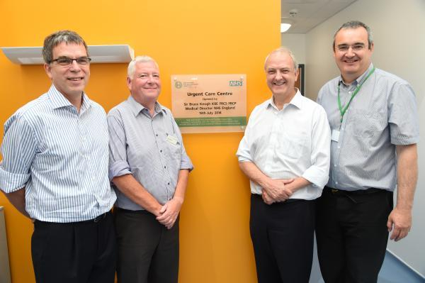 This Is Wiltshire: Sir Bruce Keogh opens the new Urgent Care Centre at the RUH. Dr Ian Orpen, left, chairman of Bath and North East Somerset Clinical Commissioning Group, Brian Stables, chairman RUH Bath NHS Trust, Sir Bruce and John Harrison, chief executive of Vocare