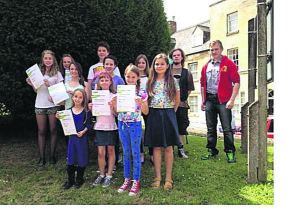 This Is Wiltshire: Pupils at Calne Speech and Drama School with their results