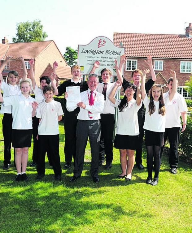 This Is Wiltshire: Headteacher Martin Watson with Lavington School pupils  delighted at the good Ofsted report