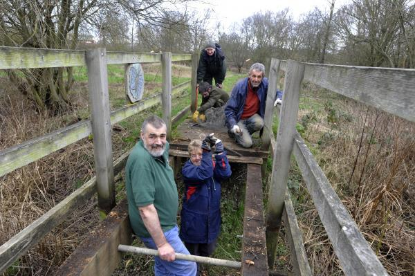 This Is Wiltshire: Volunteers at work on Melksham's Conigre Mead Nature Reserve