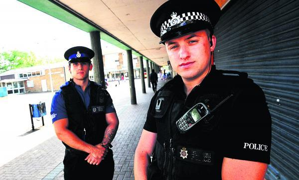 This Is Wiltshire: PC Dan Ashfield, right, with PCSO Alex Pawlowski, who are enforcing the dispersal order in Sussex Square to deal with anti-social youths