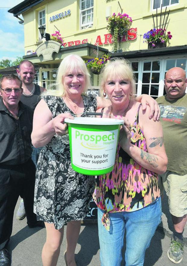 This Is Wiltshire: Janette Savory is organising a fun day at the Bakers Arms for the 160 appeal. Pictured, left to right, are Kevin Distill, Chris Wilkins, Janette, Kath Kelly and Eddie Hawkins
