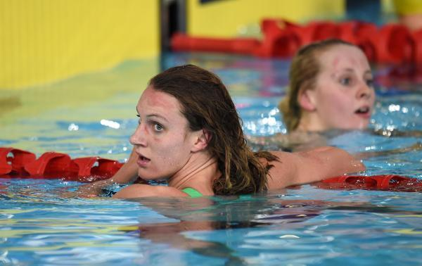 This Is Wiltshire: Jazz Carlin (left) and England's Siobhan O'Connor after the women's 200m freestyle tonight