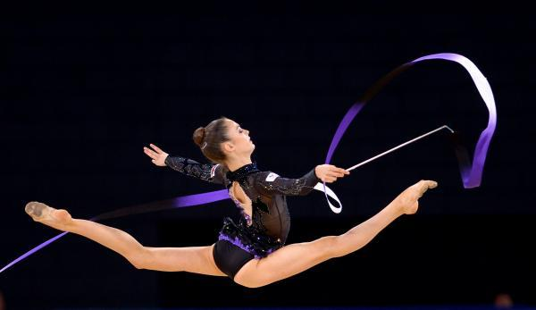 This Is Wiltshire: Laura Halford completes her ribbon routine in Glasgow today