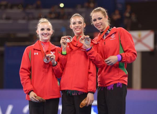 This Is Wiltshire: Laura Halford (centre) with silver medal-winning teammates Wales' (left to right) Nikara Jenkins and Francesca Jones