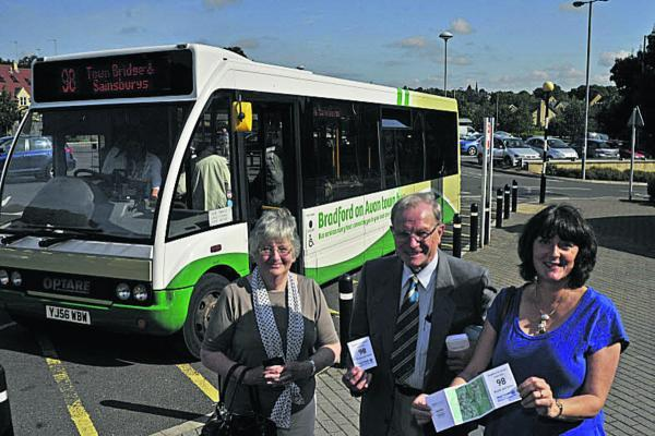 This Is Wiltshire: Passenger Doreen Gordon with Cllr Horace Prickett and Shay Parsons of Climate Friendly Bradford on Avon promoting the free bus service around the town