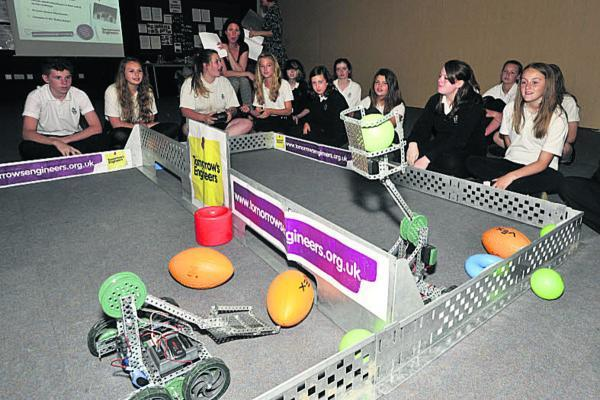 This Is Wiltshire: Matravers School Year 9 students taking part in a robot challenge on Tuesday