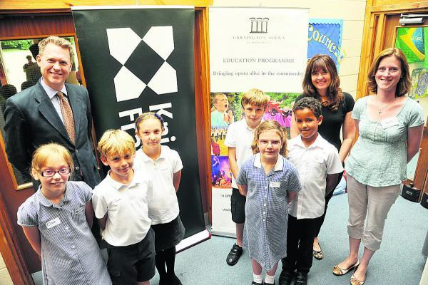 This Is Wiltshire: Burbage pupils with, from left, Rob Wrightman and Debbie Howard of Knight Frank and Laura Ingram Hill