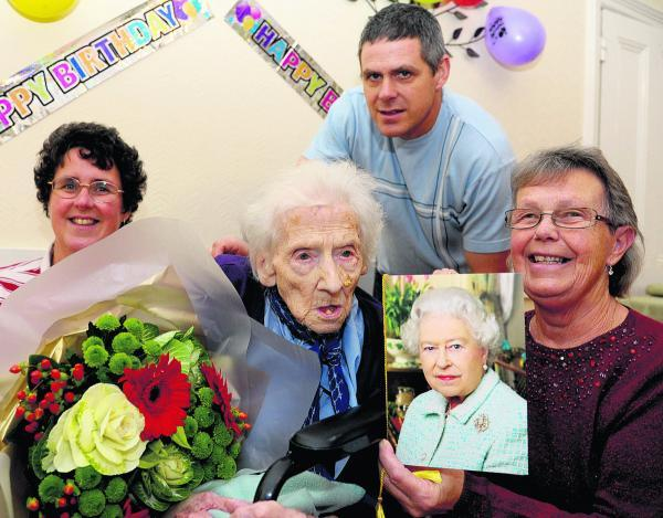 This Is Wiltshire: Phyllis Oborne celebrating her 100th birthday at Fairhaven Residental Home in 2012