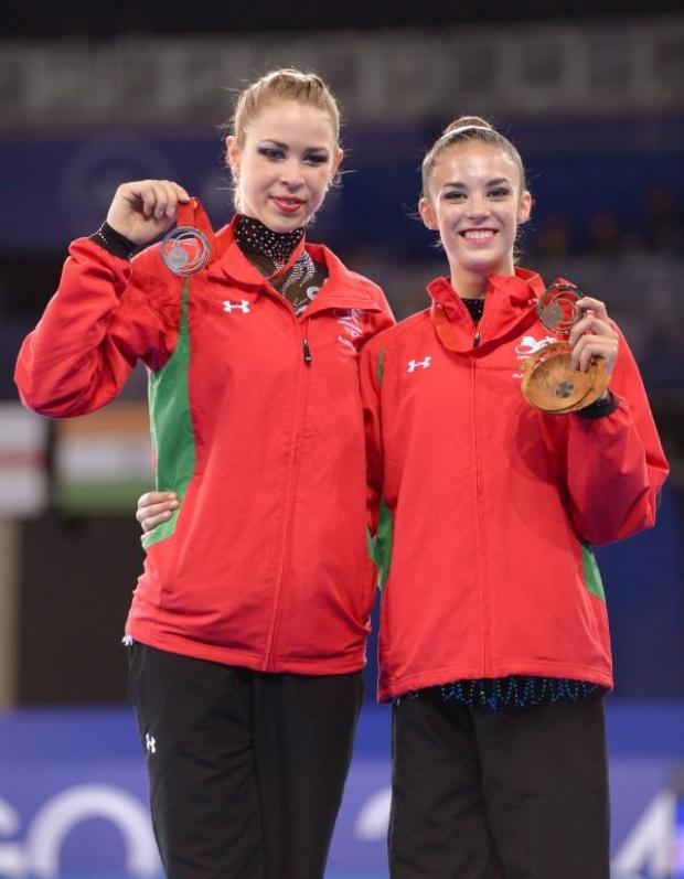 This Is Wiltshire: Laura Halford, right, with Welsh teammate Francesca Jones on the podium (Picture: PA Images)