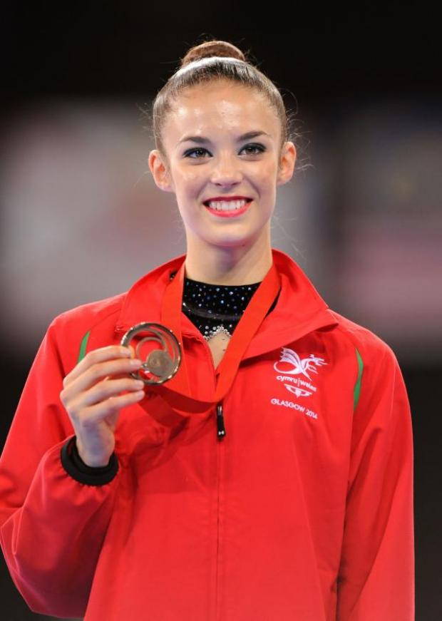 This Is Wiltshire: Laura Halford celebrates with her individual ball bronze medal this morning
