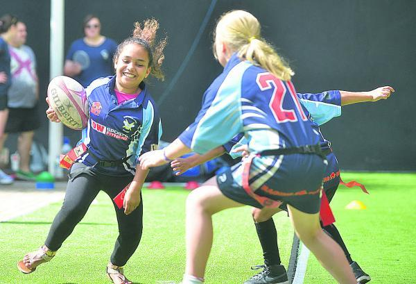 This Is Wiltshire: Shay Daniel plays touch rugby at Wharf Green