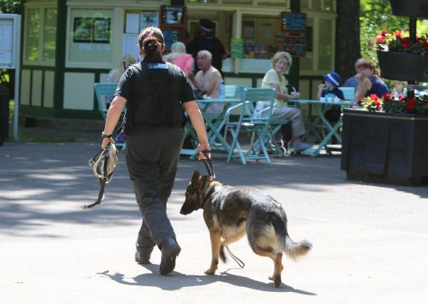 This Is Wiltshire: Police patrol the Town Gardens following last week's incident