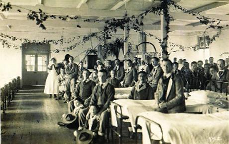 This Is Wiltshire: A ward at the GWR hospital in the Railway Village during World War One