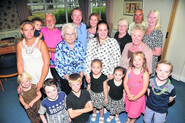 This Is Wiltshire: Barbara King is surrounded by five generations of her family for the biggest 85th birthday surprise