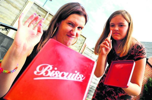 This Is Wiltshire: Biscuits are off limits as Kerry Garbutt, left, and Nicole Furmedge take part in an Alive and Kicking health programme giving support on diet and exercise