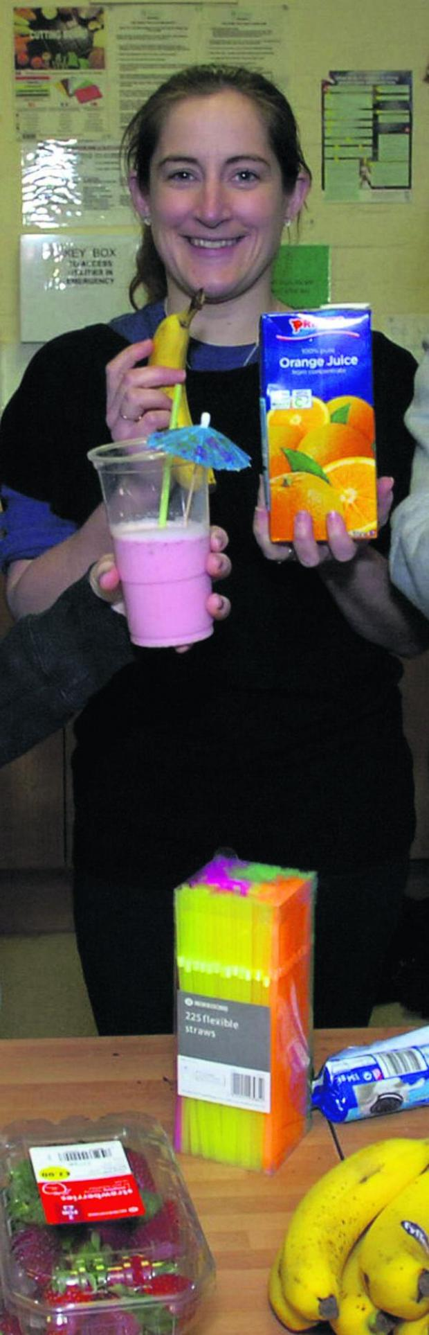 This Is Wiltshire: Sally Willox during a smoothie-making  session with youth centre members in 2011