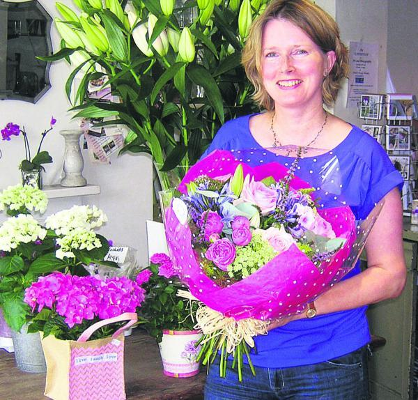 This Is Wiltshire: Florist Kate Howard with the Dotty bouquet she created